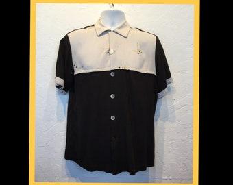 Vintage 1950s two tone atomic print shirt