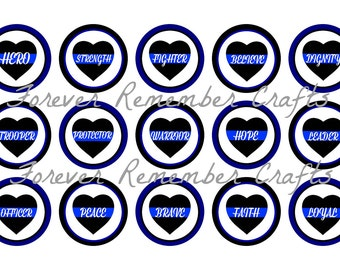 INSTANT DOWNLOAD Police Heart Inspirational Words 1 Inch Bottle Cap Image Sheets *Digital Image* 4x6 Sheet With 15 Images
