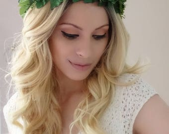 WOODLAND Leaf Crown, Green Leaf Crown, Greenery Crown, Circlet, Goddess, Woodland Crown, Leaf Crown