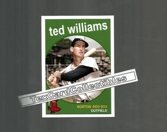 "Ted Williams Boston Red Sox  New Custom Made 1959 Style Baseball Card. Mint condition. 2.5"" x 3.5"""