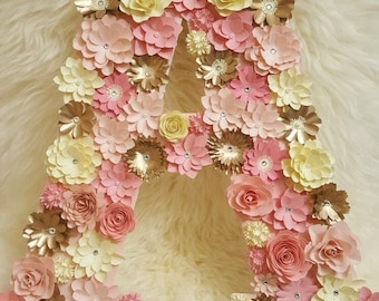 Shades of pink, Crème and gold floral letter A