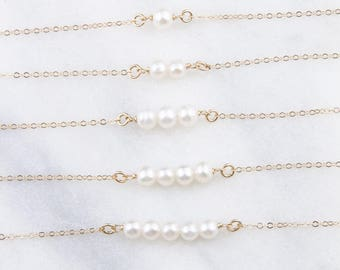 Dainty Freshwater Pearl Choker Necklace in 1, 2, 3, 4, 5 Freshwater Pearls, Mother's Day Gift, Bride or Bridesmaid Jewelry,Pearl Gold Choker