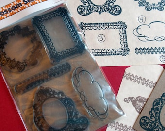 Frame Rubber Stamp Border Rubber Stamp - Set of 5 Clear Unmounted Rubber Stamps  - Handmade by Blossom Stamps
