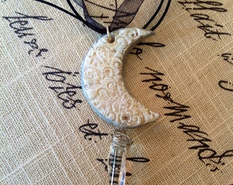 CRYSTAL VISIONS, Crescent Moon Pendant, Impressioned Moon with Authentic Quartz Crystal stone, on Gossamer Chiffon Ribbon Necklace Cord