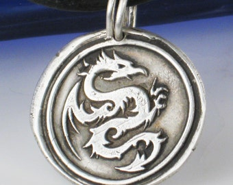 Viking Dragon Fine Silver Pendant - Necklace - Medieval Serpent Silver Pendant - Unique Dragon Goth Gift Necklace - Viking Symbolic Pendant