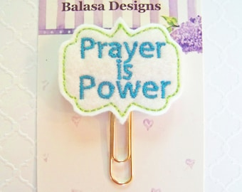 Prayer is Power Planner Clip, Bookmark, Planner Accessory, Paper Clip