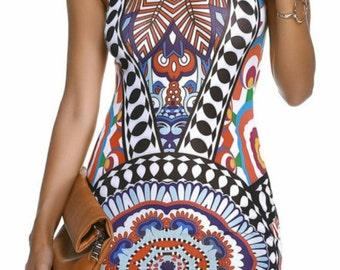 Mock Neck Floral Print Women's Bodycon Dress