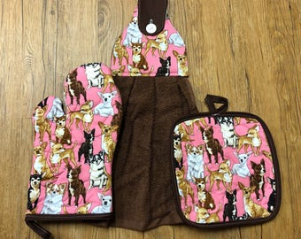 Chihuahua Theme Oven Mitt, Pot Holder and Hanging Towel Kitchen Set