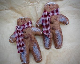 Handmade Fabric Gingerbread Men | Holiday Decor | Gingerbread man | Gingerbread doll | Christmas ornament | Christmas decoration |