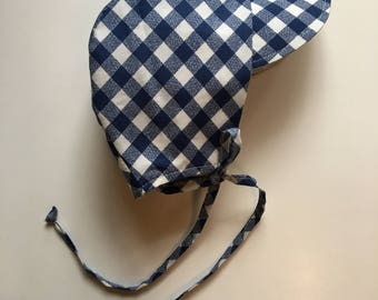 Picnic Sunbonnet Navy blue check and chambray