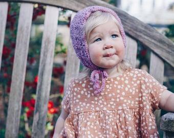 Magnolia Bonnet in Rose, Crochet Baby Bonnet, Lavender Baby Clothes, Clothing For Baby, Handmade Girl Bonnet, Spring Outfit For Toddler Girl