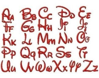 INSTANT DOWNLOAD Walt Disney Style Machine Embroidery Font Set Includes 4 Sizes