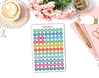 Set of 88 Round meal/travel planner sticker - perfect for Erin Condren, Kikki-K, Filofax and other planner