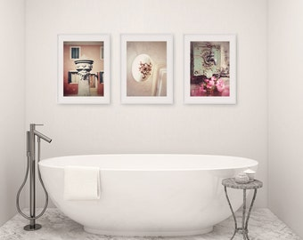 Bathroom Decor Set of 3 Photographs, Bathroom Art Set, Wall Art, Faucet, Rustic Bathroom Decor, Vintage Shabby Chic Bathroom Art, Bath Decor