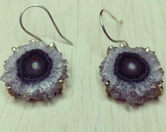 Amethyst Stalactite Solid Sterling Silver Earrings - boho, gypsy, raw, crystal