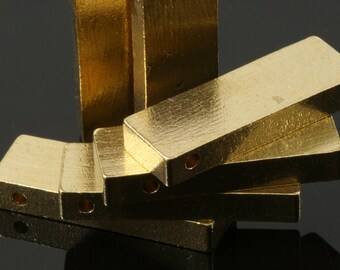 "3 pcs D34 Raw Brass  stamping 10 x 25 x 4 mm 0,39"" x 1"" x 0,16""  1720"