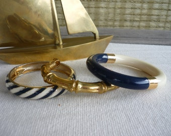 Vintage Nautical Bangles, Set of 3, Stacking Bracelet, Brass, Navy, Striped, 80's Jewellery