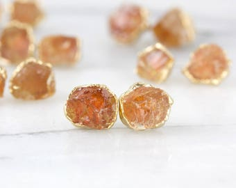 raw citrine studs   natural citrine earrings   november birthstone earrings   november birthstone studs   raw crystal studs   gemstone studs
