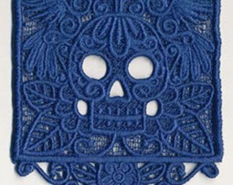 Papel Picado Calavera Skull Mexican Culture Dia De Los Muertos Embroidered Flour Sack Hand Towel