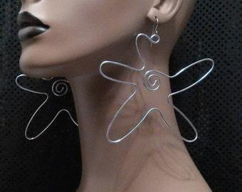 Uniquely Flower Shape Wire Earrings, Long Earrings, Womens Earrings, Ladies Earrings, Womens Jewelry, Ladies Jewelry, Dangling Earrings