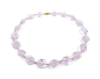 Vintage Lavender Bead Necklace, Lucite