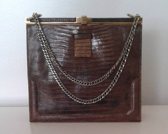 Vintage 1940's Lucille de Paris Brown Genuine Lizard Skin Leather Box Purse Handbag Chain Handle Classic