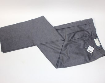 """vintage 1980's -Berle- Men's  pleat front trousers. 'New Old Stock' Gray worsted - 100% Wool - Lighly flanneled. 36"""" Waist - Un-hemmed"""
