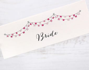 Table Place Cards Folded Rustic Vintage Pink Flag Bunting