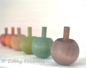 Natural Wooden Rainbow Top Set by Zúbky - Solid Wood Tops - Waldorf Montessori Game for Children