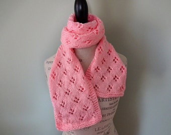 CLEARANCE - Coral Quatrefoil Patterned Scarf, Hand Knit Women's Scarf, Fashion Scarf, Gift for Mom, Gift for Teacher, Light Scarf