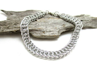 Silver Half Persian 4:1 Chainmaille Bracelet - 1/4