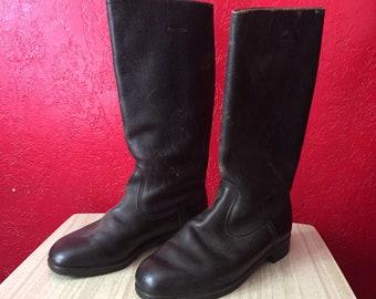 Vintage Germany Dark Leather Calf Length Jackboots