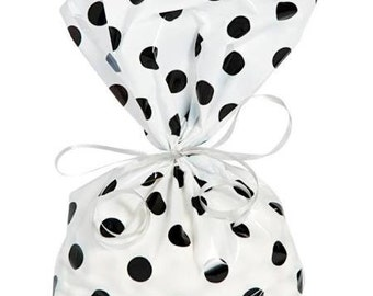 12/ white and black Polka dots Cello Treat Bags  / Treat bags / favor bags /