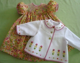 Sweetheart (Dakota Pique/Paisley Lawn) - Embroidered Swing Jacket and Smocked Bishop Style Dress