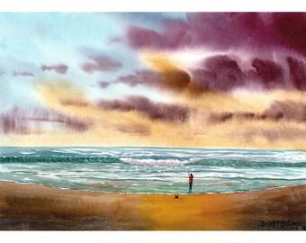 Original Watercolor Painting  seascape fsherman fishing ocean waves Landscape art watercolour Paintings 7x10