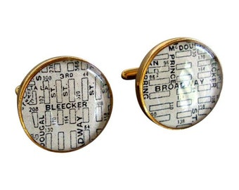 Greenwich Village Cufflinks Antique Maps Destination: New York  Bleecker and Broadway Golden Bronze Free Shipping