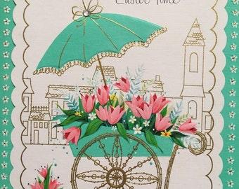 Vintage Easter Card. Vintage Pink and Aqua. Easter Card for Wife. NOS. Unused Vintage Card.
