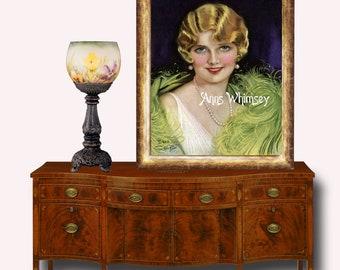 Master Bedroom Art, Guest Room Art, Art Deco  Glamour Girl Sophisticated Lady, Restored Art Print  #116