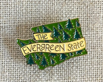 The Evergreen State Enamel Lapel Pin / Travel Souvenir Pin / Washington State Pin Badge / Soft Enamel Pin / PNW Pin / Outdoorsy Gift