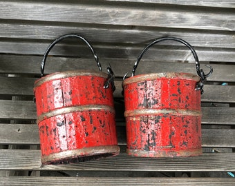 Vintage Red Buckets - Set of Two - Berry Buckets - Red Berry Bucket - Wood and Iron Bucket - Red Bucket