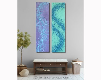 Zen Garden abstract painting / ORIGINAL abstract painting/ Textured Art / 2 set of paintings/ 48x12 / Lavender, Seagreen, blue
