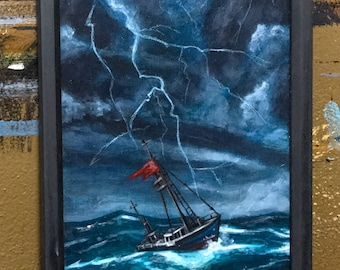 Rough Seas. Original acrylic on stretched canvas. Handmade wooden frame ready to hang.