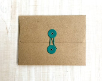 "String Tie Envelopes, A-2 4 1/4"" x 5 3/4"" Craft Envelopes with Customizable Button & String, Set of 5"
