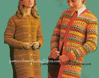 Vintage Crochet coat or jacket  in stashbuster stripes Pattern PDF 611 Lace Striped Coat from WonkyZebra
