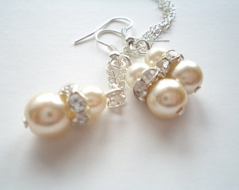 Bridesmaid gift set, Popular SET Bridesmaids Gift, Ivory Glass Pearl Necklace and Earrings Set