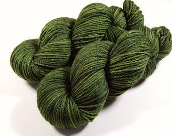 Hand Dyed Yarn, Worsted Weight Superwash 100% Merino Wool Yarn - Moss Tonal - Indie Dyed Hand Knitting Yarn, Worsted Yarn, Olive Green