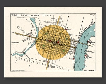PHILADELPHIA 1929 - city map - FREE shipping