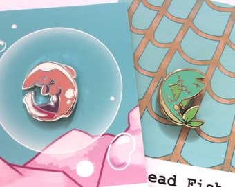 Goblin Shark and Dead Fish Hard Enamel Pins