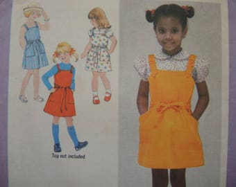 vintage 1970s Simplicity sewing pattern 9091 girls size 5 sundress or jumper and blouse UNCUT