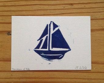 small boat lino print (8x5cm)